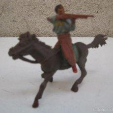 Figuras de Goma y PVC: ANTIGUO PISTOLERO A CABALLO DE GOMA ORIGINALES DE JECSAN - AÑOS 50.. Lote 56083689