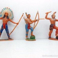 Figuras de Goma y PVC: 667 LOTE 3 FIGURAS INDIOS APACHES JECSAN OESTE AMERICANO PINTADAS A MANO ALFREEDOM. Lote 56122886