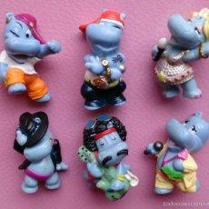 Lote 6 figuras Happy Hippo Talent Show Hipopótamos Kinder Sorpresa