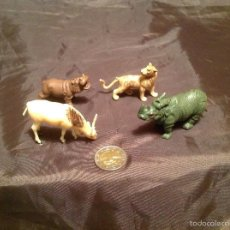 Figuras de Goma y PVC: 4 FIGURAS DE ANIMALES PLÁSTICO MADE IN HONG KONG AÑOS 60/70. Lote 56327372