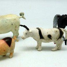 Figuras de Goma y PVC: 4 ANIMALES GRANJA 2 CERDOS TORO Y CABALLO NEGRO GOMA Y PLÁSTICO MADE IN HONG KONG. Lote 56365016