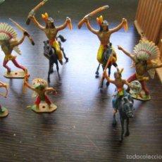 Figuras de Goma y PVC: INDIOS DE COMANSI - 7 INDIOS Y 3 CABALLOS. Lote 56974090