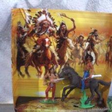 Figuras de Goma y PVC: CAJA CON INDIOS DE JECSAN. Lote 56990185