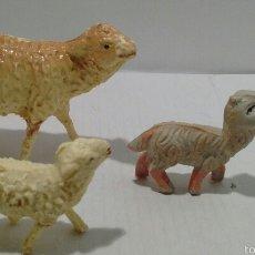 Figuras de Goma y PVC: ANTIGUAS FIGURAS PARA BELÉN. OVEJAS. PLÁSTICO. PECH, OLIVER.. Lote 56991559