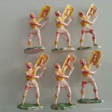 Figuras de Goma y PVC: ROJAS Y MARALET : ANTIGUO LOTE DE 6 SOLDADOS ROMANOS CARTAGINESES - BATALLA DE METAURO - AÑOS 50. Lote 57179724