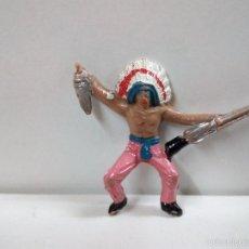 Figuras de Goma y PVC: JEFE INDIO PARA CABALLO . MINI OESTE . COMANSI. Lote 57285900