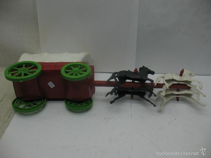 Figuras de Goma y PVC: Carruaje con caballos de plástico vaqueros oeste - Foto 4 - 57322326