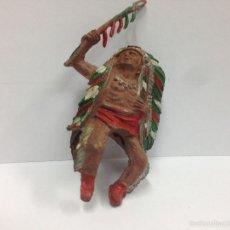 Figuras de Goma y PVC: FIGURA ANTIGUA FABRICADA EN GOMA MARCA SOTORRES JEFE INDIO . Lote 57326353
