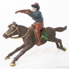 Figuras de Goma y PVC: FIGURA DE VAQUERO A CABALLO DE LA PRIMERA EPOCA DE LOS TEXAS COWBOYS DE REAMSA DE 6 CMS - OESTE. Lote 57386762