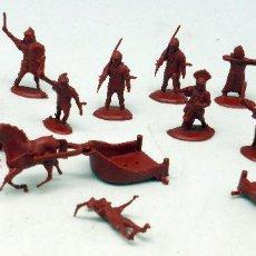 Figuras de Goma y PVC: 15 SOLDADOS ROMANOS Y GALOS 2 CUÁDRIGAS MONTAPLEX MONTA PLEX AÑOS 70 . Lote 57594614