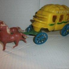 Figuras de Goma y PVC: CARRETA DILIGENCIA ANTIGUA DEL OESTE EN PLASTICO. Lote 57793415