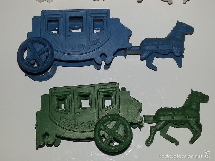 Figuras de Goma y PVC: MONTAPLEX ESJUSA ZIX : LOTE DE 3 CARAVANAS DEL OESTE DILIGENCIAS EN PLASTICO KIOSCO AÑOS 60 / 70 - Foto 2 - 58178710
