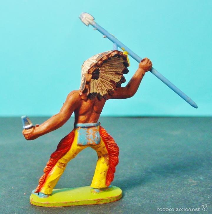 Figuras de Goma y PVC: INDIO CON LANZA Y PUÑAL. GOMA. AÑOS 50-60. SOTORRES. - Foto 2 - 58199085