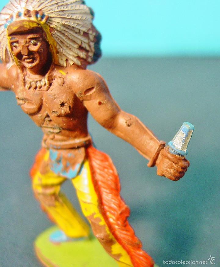 Figuras de Goma y PVC: INDIO CON LANZA Y PUÑAL. GOMA. AÑOS 50-60. SOTORRES. - Foto 3 - 58199085