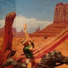 Figuras de Goma y PVC: ANTIGUAS FIGURAS DEL OESTE JECSAN. VAQUERO A CABALLO. PLÁSTICO. SERIE 60 MM.. Lote 58430502