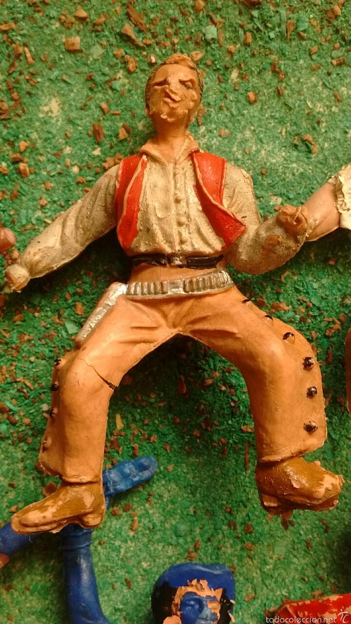 Figuras de Goma y PVC: Lote Antiguas Figuras del Oeste. Defectuosas. Comansi, Jecsan. - Foto 5 - 58445566