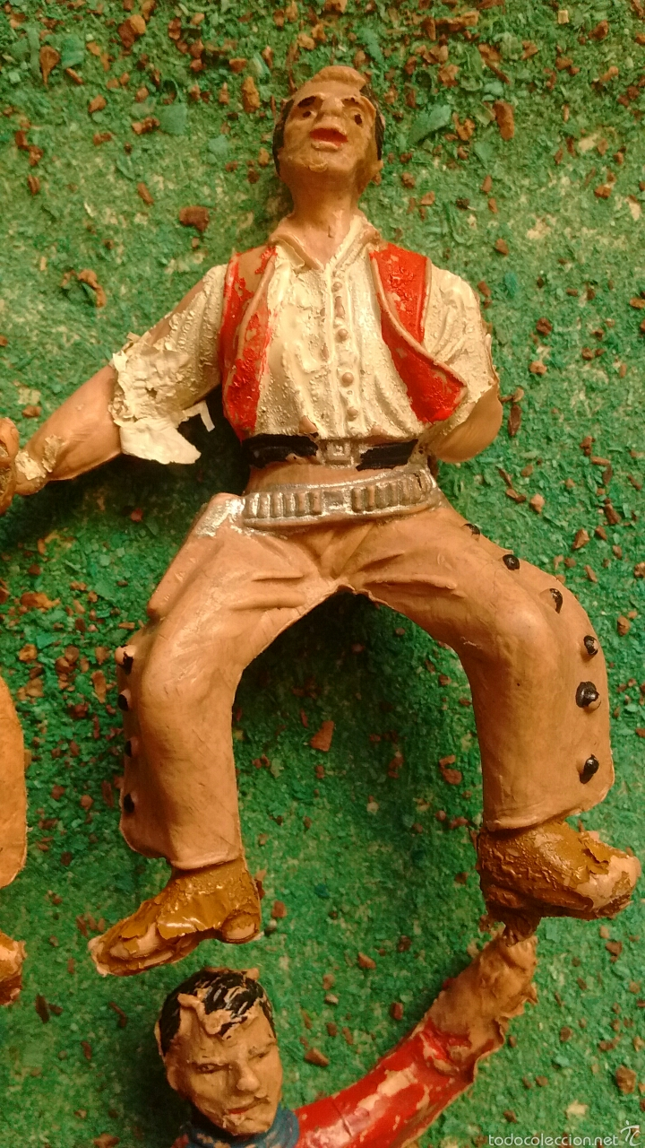 Figuras de Goma y PVC: Lote Antiguas Figuras del Oeste. Defectuosas. Comansi, Jecsan. - Foto 6 - 58445566
