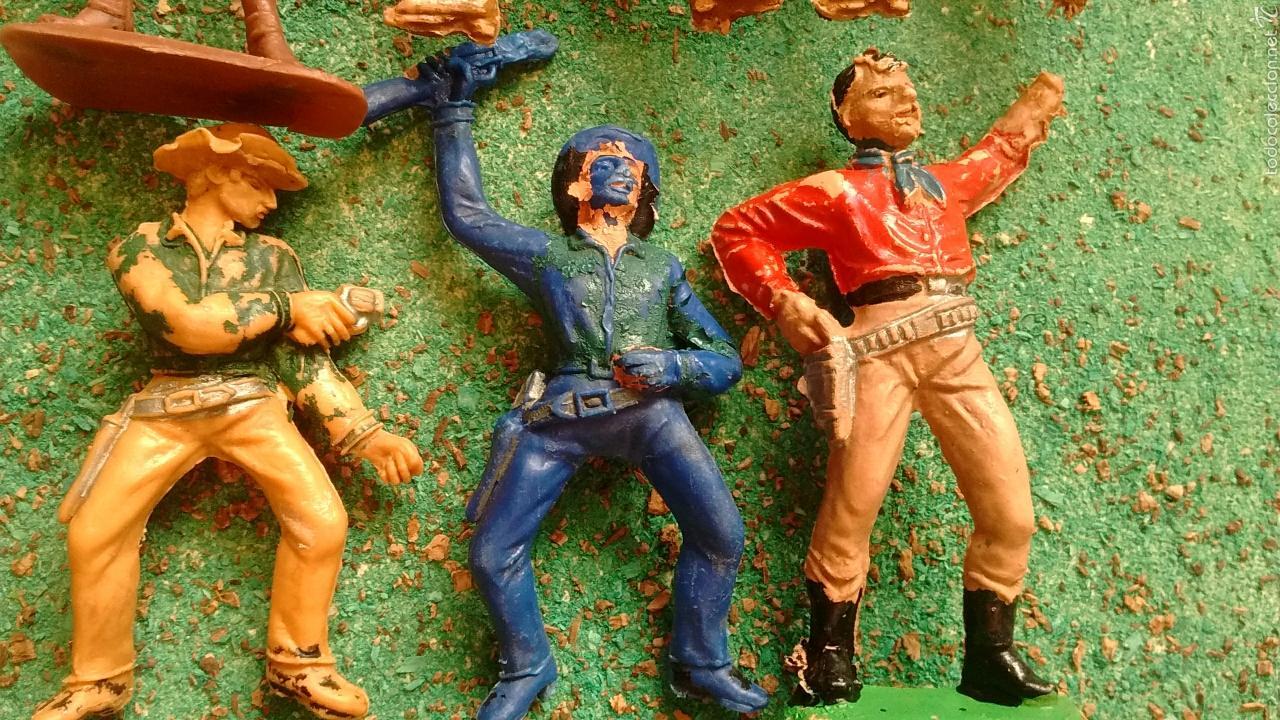 Figuras de Goma y PVC: Lote Antiguas Figuras del Oeste. Defectuosas. Comansi, Jecsan. - Foto 2 - 58445566