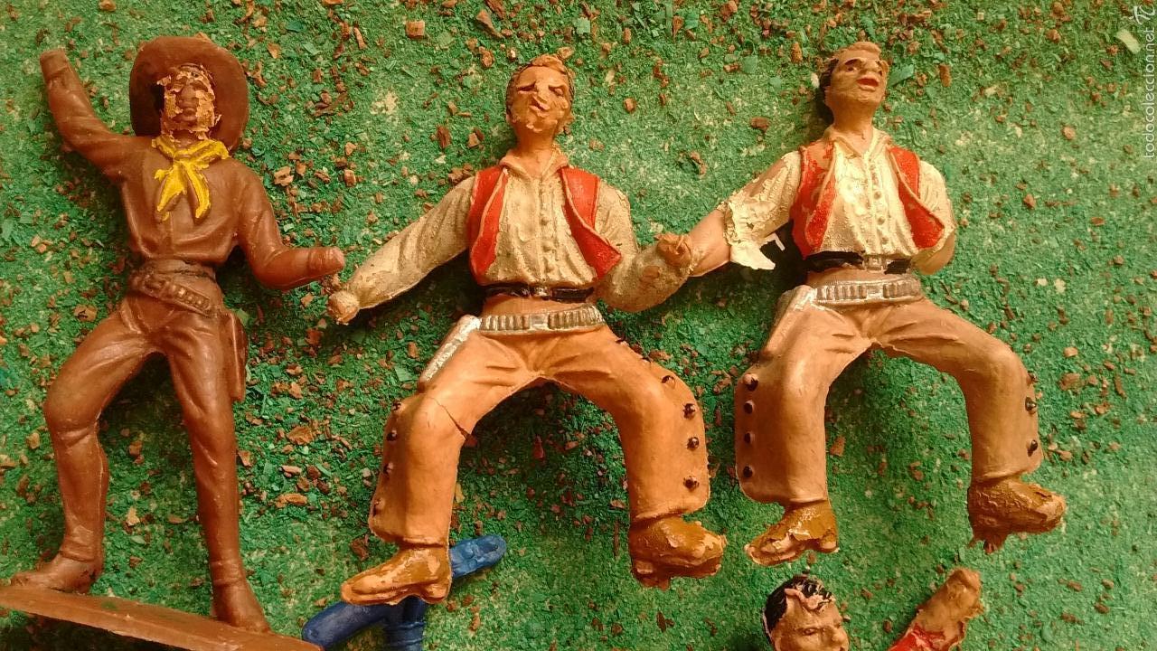 Figuras de Goma y PVC: Lote Antiguas Figuras del Oeste. Defectuosas. Comansi, Jecsan. - Foto 3 - 58445566