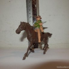 Figuras de Goma y PVC: JINETE A CABALLO JECSAN VAQUERO OESTE. Lote 58499020