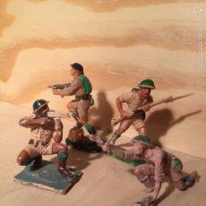 Figuras de Goma y PVC: LOTE PECH DE 4 SOLDADOS INGLESES PLÁSTICO. Lote 58557594