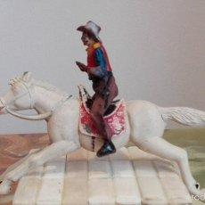 Figuras de Goma y PVC: VAQUERO CON CABALLO DEL OESTE GOMA HERMANOS PECH AÑOS 50. Lote 58595699
