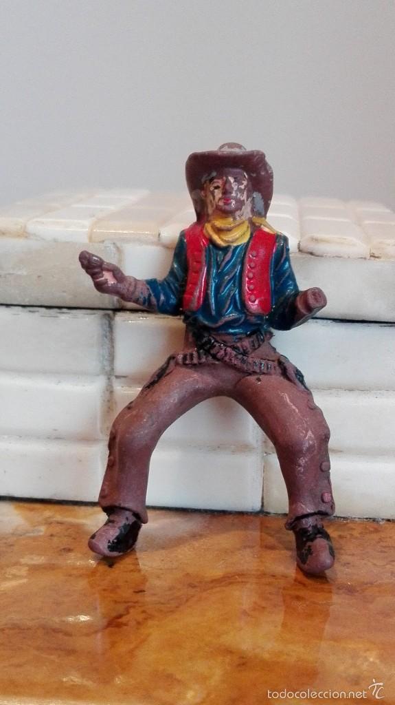 Figuras de Goma y PVC: Vaquero con caballo del Oeste Goma hermanos pech años 50 - Foto 3 - 58595699