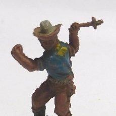 Figuras de Goma y PVC: VAQUERO A PIE LANZANDO CUCHILLO, FABRICADO POR LAFREDO EN GOMA, SERIE 6 CM. AÑOS 50.. Lote 59104175
