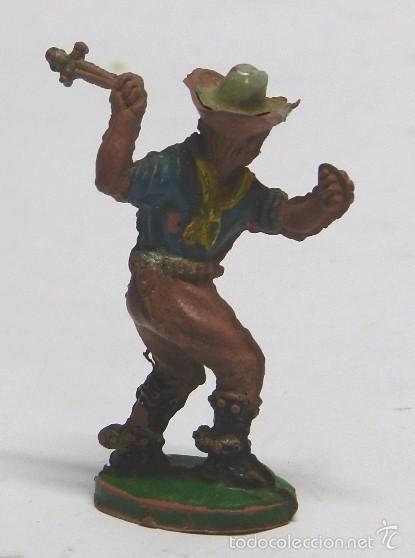 Figuras de Goma y PVC: Vaquero a pie lanzando cuchillo, fabricado por Lafredo en goma, serie 6 cm. años 50. - Foto 2 - 59104175