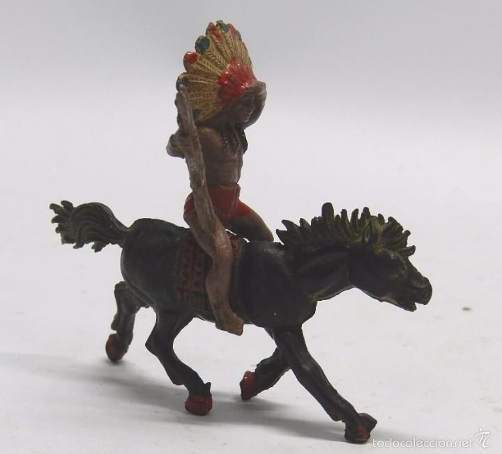Figuras de Goma y PVC: FIGURA INDIO GOMA A CABALLO, PECH HERMANOS, AÑOS 50. - Foto 2 - 59108240