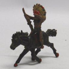 Figuras de Goma y PVC: FIGURA INDIO GOMA A CABALLO, PECH HERMANOS, AÑOS 50.. Lote 59108310