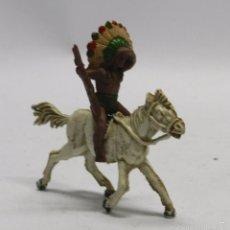 Figuras de Goma y PVC: FIGURA INDIO GOMA A CABALLO, PECH HERMANOS, AÑOS 50.. Lote 59108400