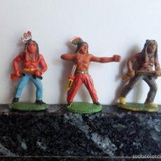 Figuras de Goma y PVC: INDIOS GOMA AÑOS 50 PINTADOS A MANO. Lote 59570987