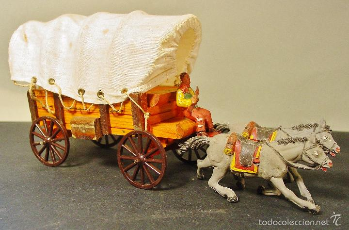 Figuras de Goma y PVC: CARRETA PECH EN MADERA, GOMA Y PLÁSTICO. AÑOS 50. CON SU CAJA. - Foto 4 - 59955927