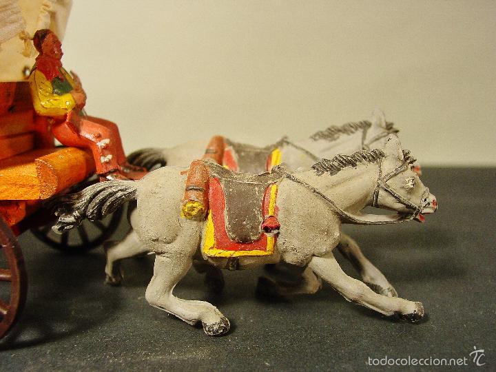 Figuras de Goma y PVC: CARRETA PECH EN MADERA, GOMA Y PLÁSTICO. AÑOS 50. CON SU CAJA. - Foto 5 - 59955927