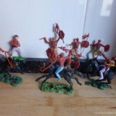 Figuras de Goma y PVC: FIGURAS DESMONTABLES TIMPO INDIOS VAQUEROS OESTE CABALLO. Lote 60079795