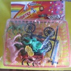 Figuras de Goma y PVC: MONTAPLEX-BLISTER CON BANDEJA- INCLUYE CARRETA DE OESTE Y INDIOS Y VAQUEROS-AÑOS 80. Lote 60701647