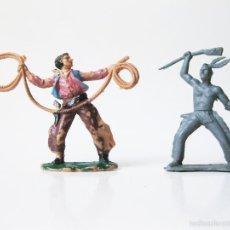 Figuras de Goma y PVC: PAREJA DE FIGURAS DE PLASTICO DE INDIOS Y VAQUEROS DEL OESTE - FIGURA DE VAQUERO REAMSA. Lote 60796407