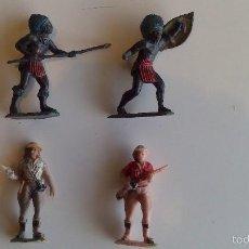 Figuras de Goma y PVC: LOTE CAZADOR Y DOS GUERREROS AFRICANOS. SAFARI PECH / TEIXIDO. ORIGINAL AÑOS 50/60. Lote 60847963