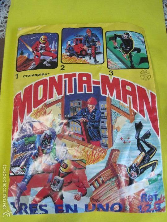 MONTAPLEX--MONTAMAN TRES EN UNO-SOBRE GRANDE CERRADO-REF.1,2,3,-AÑOS 80.RARO!!! (Juguetes - Figuras de Goma y Pvc - Montaplex)