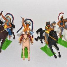 Figuras de Borracha e PVC: SERIE COMPLETA DE LOS 6 INDIOS SIOUX A CABALLO, DE LITTLE BIG HORN, BRITAINS DEETAIL. Lote 62528520