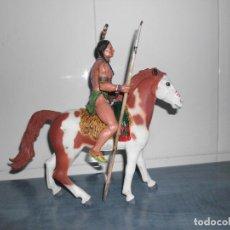 Figuras de Goma y PVC: GUERRERO INDIO CON CABALLO DE GOMA MACIZA ( NOVOLINEA, REAMSA Y GOMARSA, TEIXIDO, ASTER). Lote 62705916