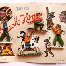 Figuras de Goma y PVC: BLISTER TRIBU BLACK HORSE INDIOS Y VAQUEROS DE PLASTICO DURO TIPO BAQUELITA AÑOS 50 OESTE. Lote 64929335