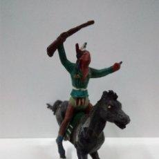 Figuras de Goma y PVC: GUERRERO INDIO A CABALLO . GAMA . AÑOS 50 EN GOMA . Lote 64968327