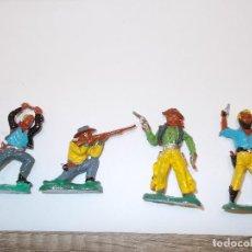Figuras de Borracha e PVC: LOTE FIGURAS DEL OESTE: 4 VAQUEROS/COWBOYS MARX-BRITAINS SERIE 5 CM. COMPUESTO.AÑOS 60-70.PTOY. Lote 66518174