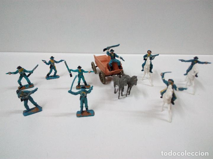 SOLDADOS FEDERALES Y CARRETA . COMANSI . MINI OESTE (Juguetes - Figuras de Goma y Pvc - Comansi y Novolinea)