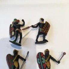 Figuras de Goma y PVC: 4 FIGURAS ARCLA NEGROS AFRICA SALVAJE. Lote 67231353