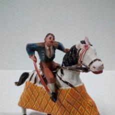 Figuras de Goma y PVC: PRECIOSO PICADOR A CABALLO . REALIZADO POR TEIXIDO / JECSAN . AÑOS 50 EN GOMA. Lote 67288497