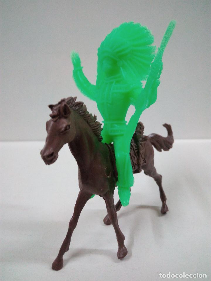 Figuras de Goma y PVC: JEFE INDIO CON CABALLO . COMANSI . MONOCOLOR - Foto 2 - 68280713