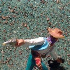 Figuras de Goma y PVC: ANTIGUA FIGURA DEL OESTE . PISTOLERO LADRÓN DE BANCOS. COPIA DE ELASTOLIN. PLÁSTICO. 60 MM.. Lote 68862182